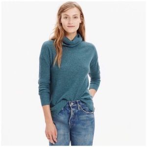 Madewell Teal Blue Ribbed Turtleneck Sweater